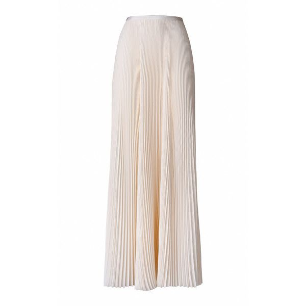 Esme Vie Kentia Maxi Skirt ($1,840) ❤ liked on Polyvore featuring skirts, white, pleated maxi skirt, long white maxi skirt, white maxi skirt, long skirts and long pleated skirt