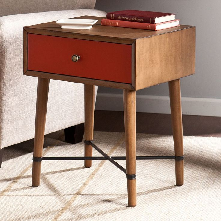 Southern Enterprises Naples Side Table, Red