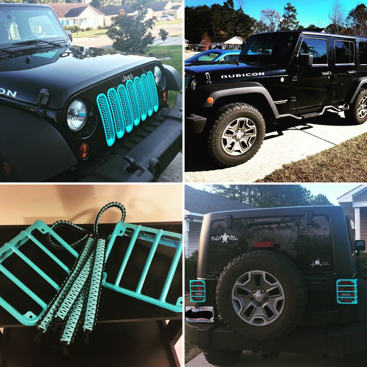 Customized Jeep Rubicon Unlimited #turquoise #paracordgrabhandles #grillinserts #taillightcovers #jeep
