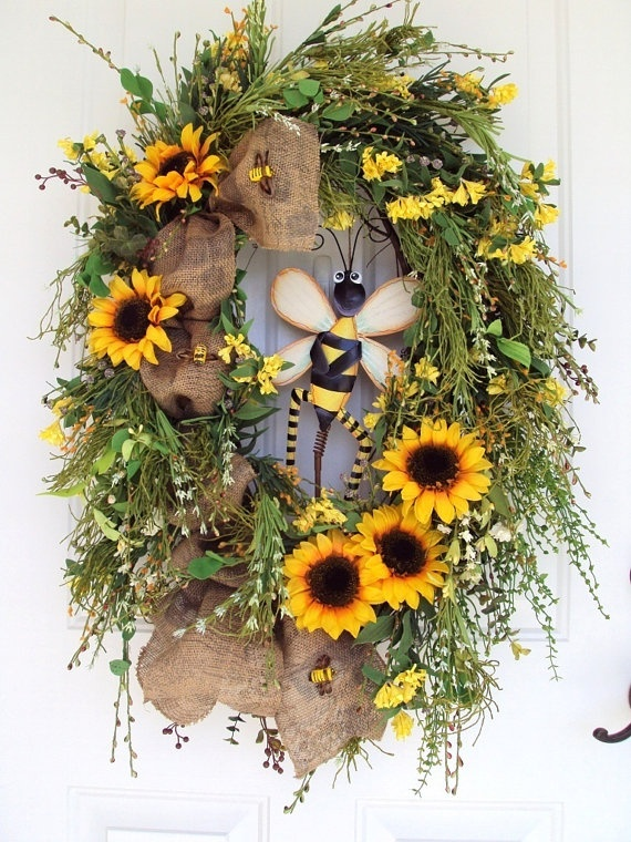 clothing outlets in new york Door Wreath Spring Summer Primitive Bee Rustic by adoorableflorals   109 99