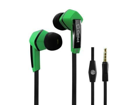 """Alcatel Idol 3 (5.5"""") Green Cellet Square 3.5mm Flat Wire Stereo Hands Free Ear Buds"""