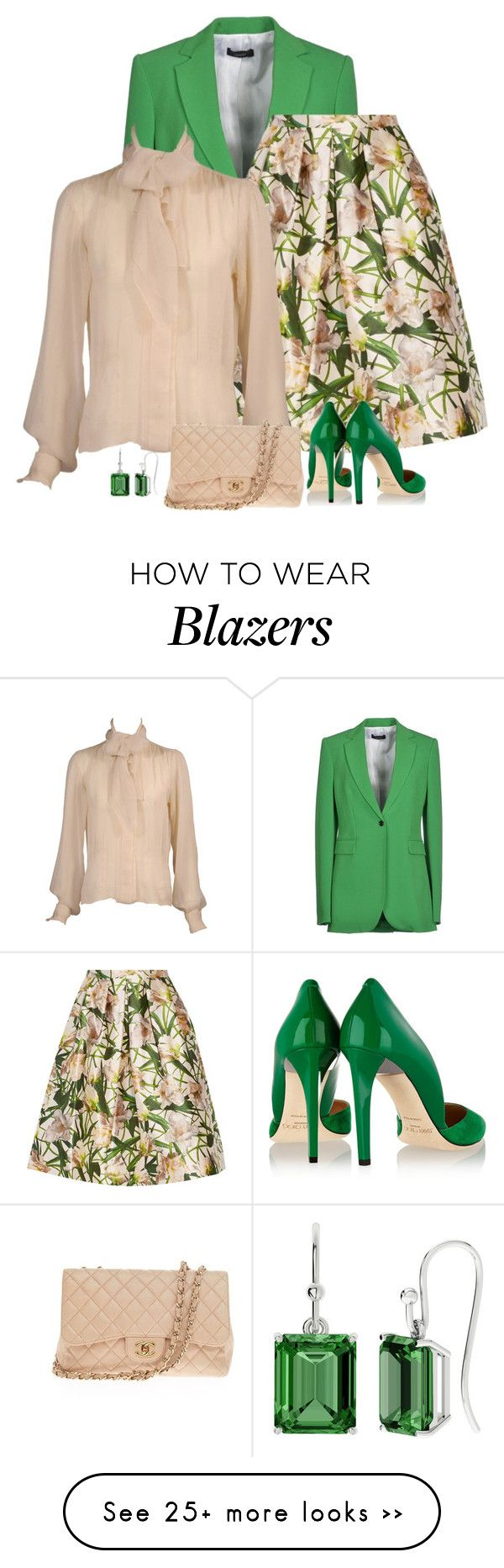 """floral skirt"" by divacrafts on Polyvore featuring Joseph, Oscar de la Renta, Yves Saint Laurent, Jimmy Choo, Chanel, StyleRocks and Original"