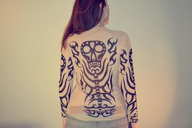Tattoo T-Shirt Japanese YAKUZA Black Skull T-shirt Long Sleeved Men & Unisex (Free size S-XL) CS-02. $22.00, via Etsy.