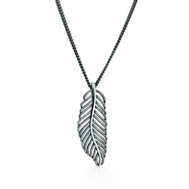 #PANDORA oxidized sterling silver necklace chain RRP $129 and sterling silver feather necklace pendant with microset cubic zirconia RRP $109