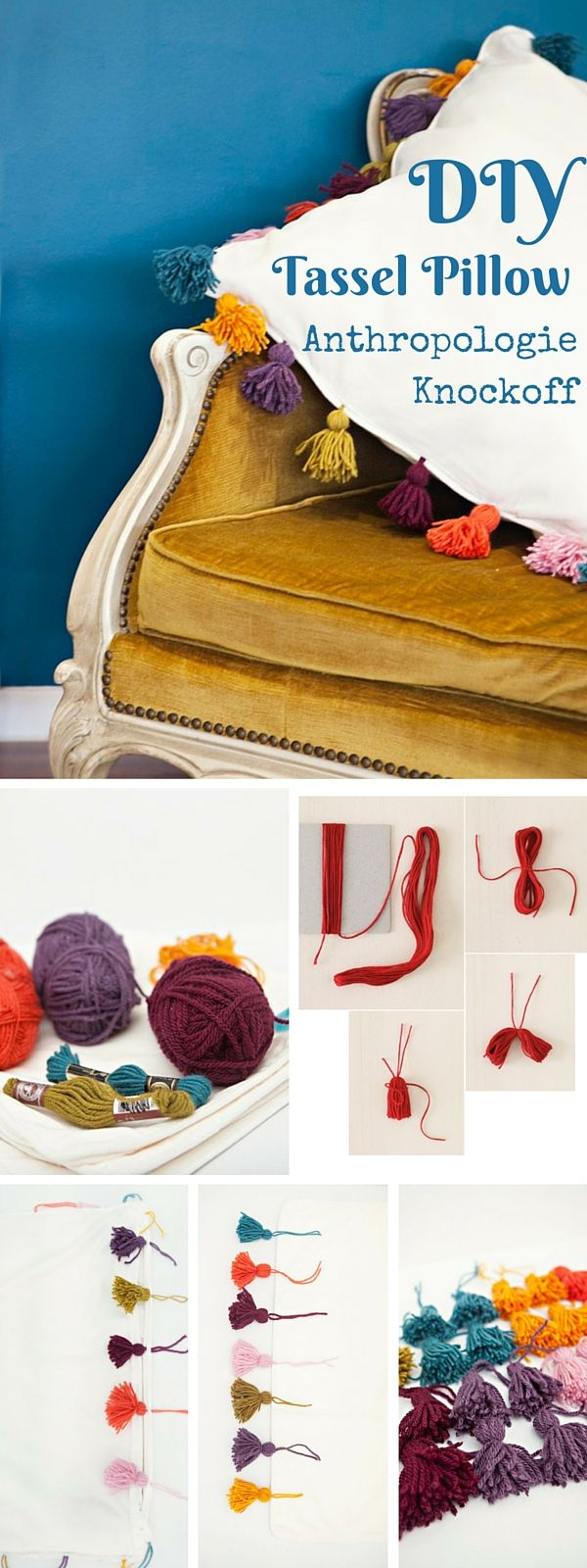 Check out the tutorial: #DIY #Anthropologie Tassel Pillow Knockoff #crafts…