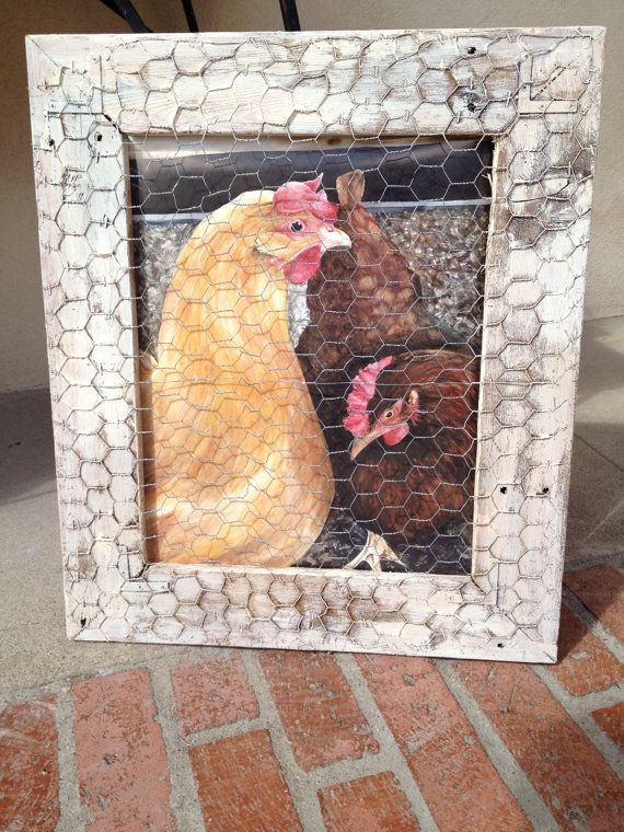 Painted Chickens in Rustic Country Chicken Wire Frame. Handmade this piece looks like real chickens in the coop. Beautiful on Etsy, $43.00