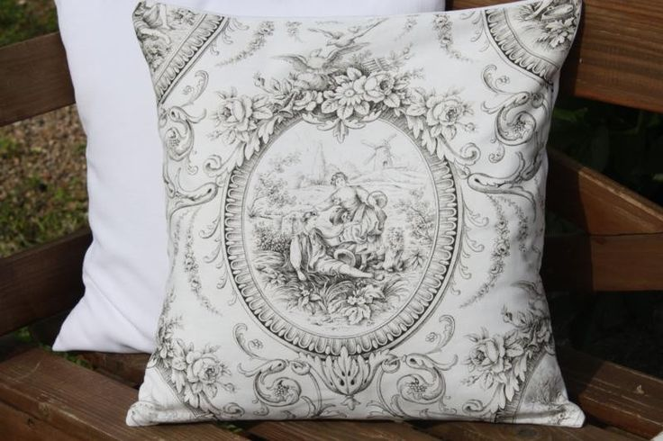 sold beautiful french toile de jouy cushion pillow cover toile pattern love pinterest. Black Bedroom Furniture Sets. Home Design Ideas
