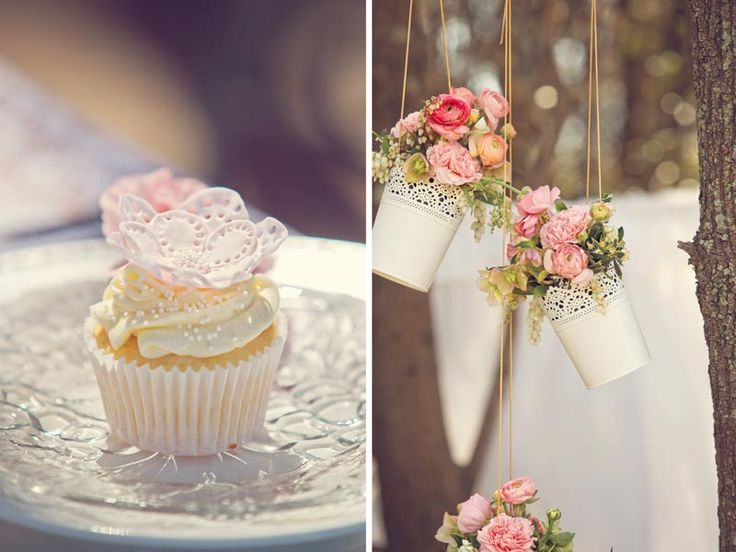 Cupcakes and hanging flower decorations. Styled by @Chanel Edwards Rose-Flowers and photographed by @Tanya Knyazeva Tindale. #weddingcupcakes