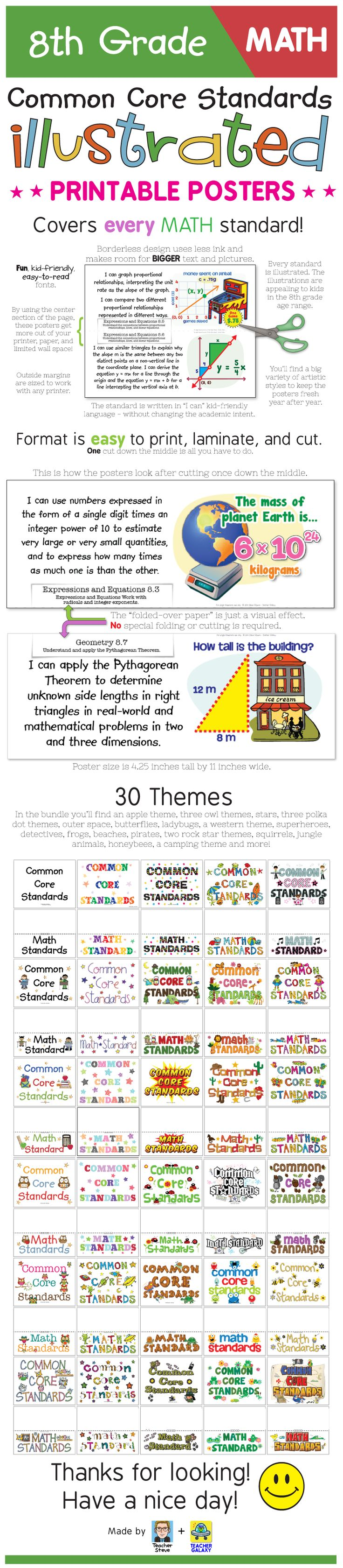 """These posters for the 8th grade math Common Core Standards bring the standard to life and make it easier to understand with age-appropriate illustrations and kid-friendly """"I can"""" language. The posters have a unique borderless design that will get the most out of your wall space and paper. 30 themes to choose from - or use them without a theme - that works, too! Big, colorful, age-appropriate posters for the eighth grade math common core! $"""