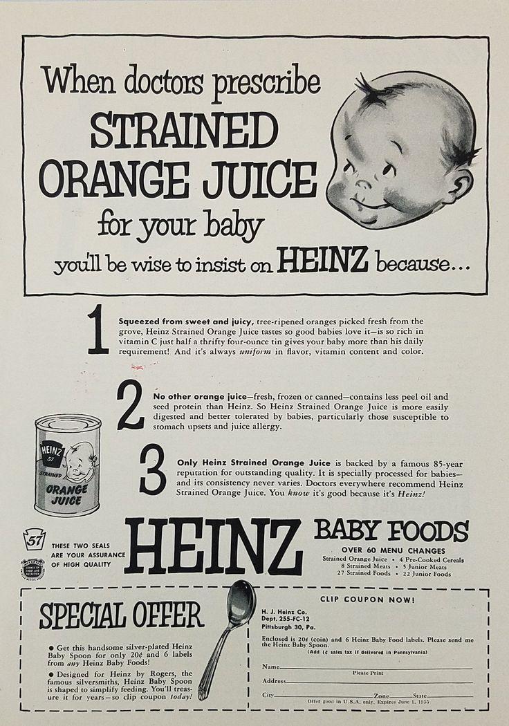 1954 Heinz Baby Foods Vintage Ad - Strained Orange Juice
