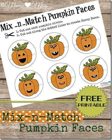 Mix-n-Match Pumpkins - Free Printable {mama♥miss} ©2012