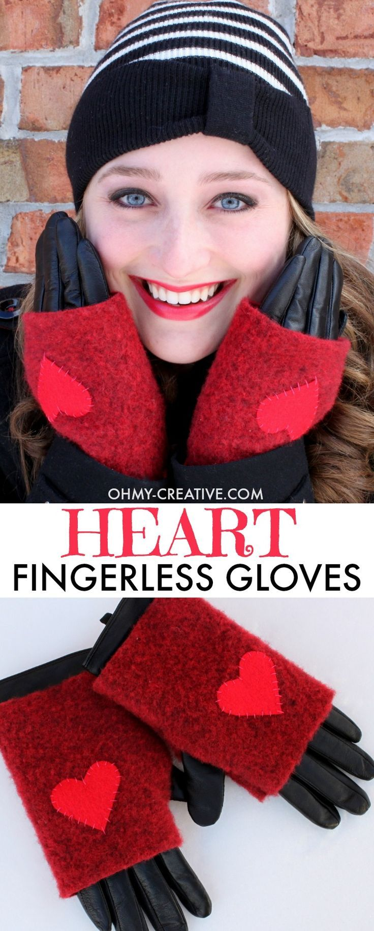 How to make Wool Fingerless Gloves - Sewn with a handmade heart perfect for Valentine's Day! A great handmade gift for mothers, daughters and friends.     OHMY-CREATIVE.COM