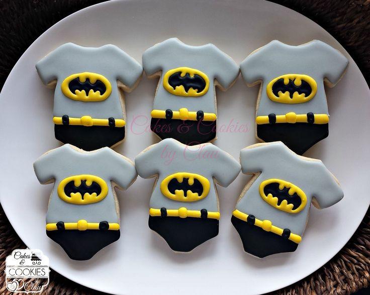 Baby Shower Batman Onesies Cookies www.cakesandcookiesbyclau.com