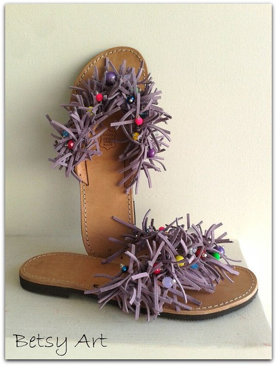 Suede flip flop leather suede sandals by betsyarts on Etsy, €48.00