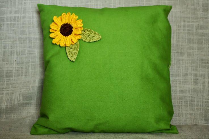 Green pillow with sunflower