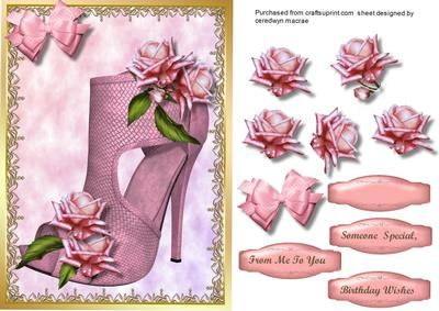 Lovely Verdant shoe and pink roses  on Craftsuprint designed by Ceredwyn Macrae - a lovely card to make and give to anyone on there birthday, Lovely Verdant shoe and pink roses a lovely card has three greeting tags and a blank for you to choose the sentiment,  - Now available for download!