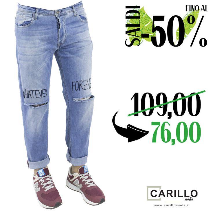 IMPERIAL Jeans uomo lavaggio medio con rotture e ricamo sulle ginocchia,orlo taglio vivo. #denim #fashion #tendenze #moda #blu