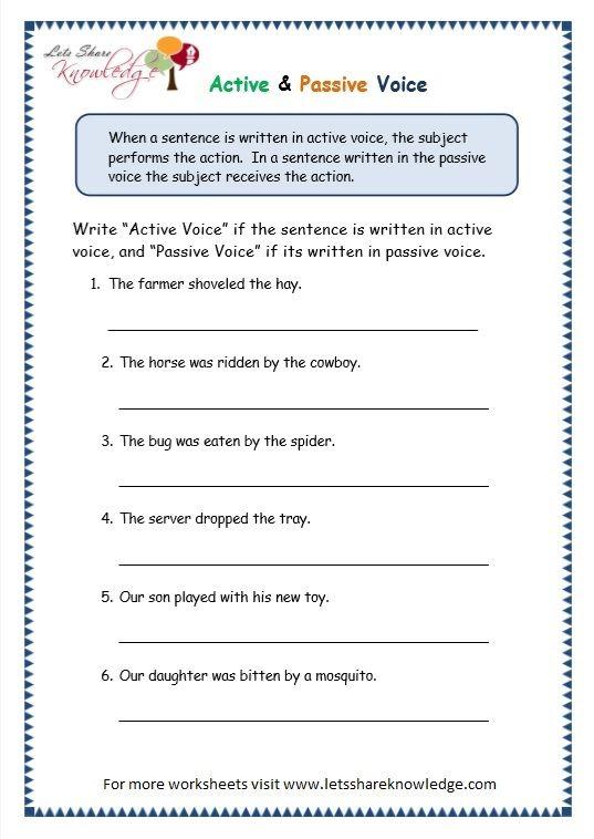 Grade 3 Grammar Topic 3 Active Passive Voice Worksheets ...