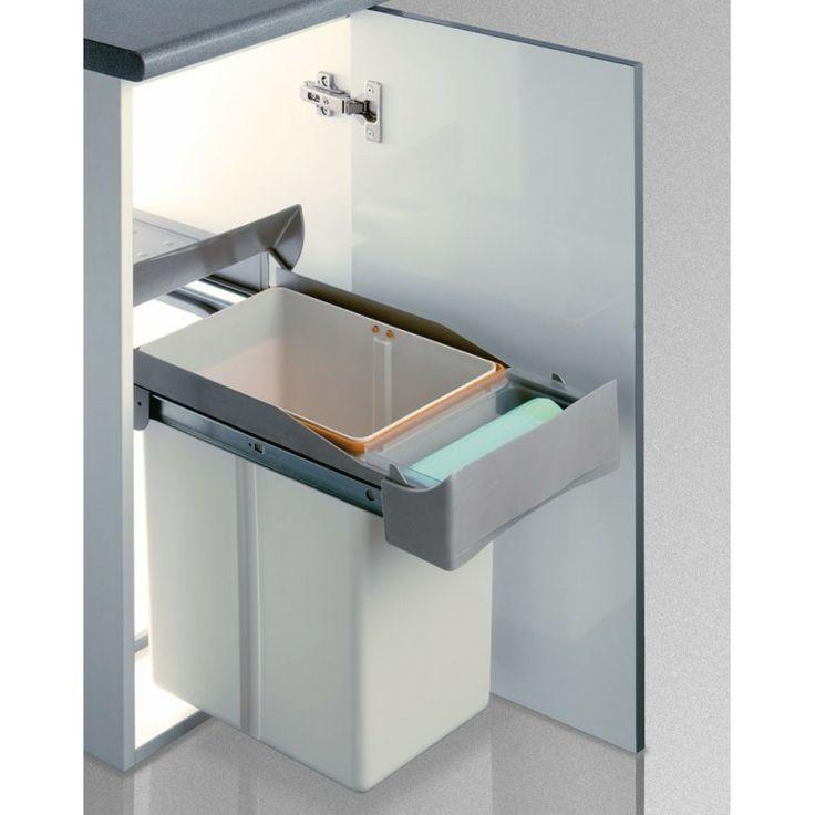 CUBO BASURA DE 21L - 44,56€ (Envío GRATUITO)- Cubo de basura rectangular con apertura automática de la tapa y extracción manual. Bandeja porta-bayeta. Se fija a la base del armario. Tienda online Casaenorden - Te ayudamos a organizar tus armarios