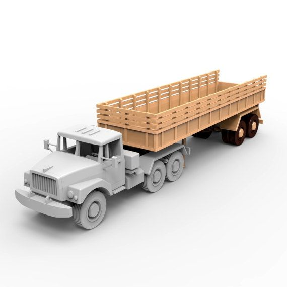 Semi-trailer for russian ZIL-137 wooden truck model.