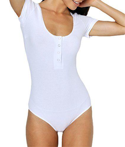 de4ae05fe8 lisenraIn Women Thread Button Bodysuit Basic Short Sleeve Jumpsuit Scoop  Neck Leotard