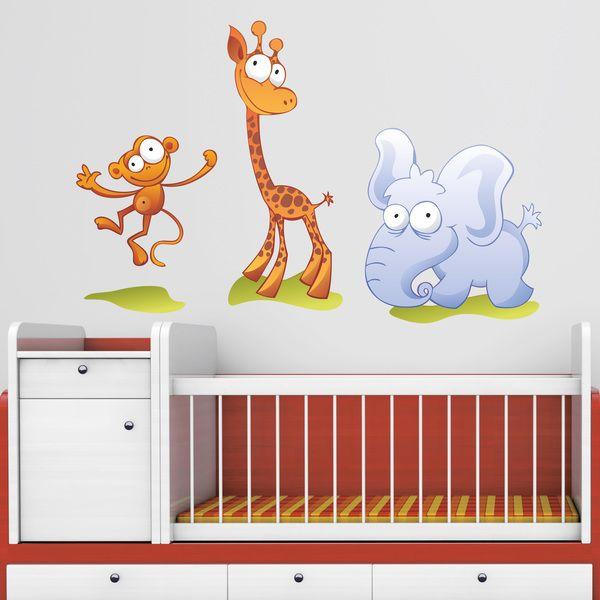 Vinilos Infantiles: mono, jirafa y elefante. Vinilo decorativo infantil en kit. #vinilosdecorativos #decoracion #patrones #mosaico #animales #teleadhesivo