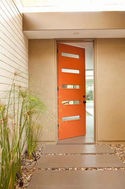 "Midcentury entry by BiLDEN - Possible colour : ""Tangerine Melt"", by Benjamin Moore Door by Crestview Doors"