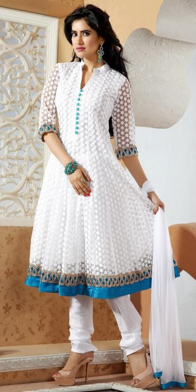 USD 163.65 White Embroidered Net Salwar Suit 28775