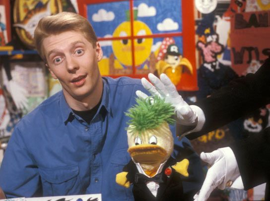 """""""Andy Crane is joined in the 'Broom Cupboard' by Edd the Duck and the gloved hands of Wilson the Butler"""" ~ 1989"""