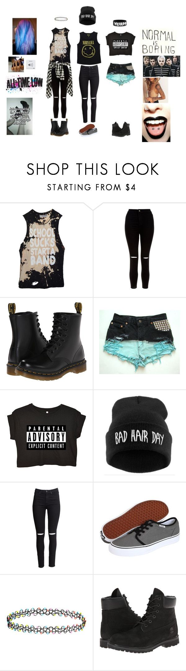 """reminding me"" by mollyjoanis ❤ liked on Polyvore featuring High Heels Suicide, New Look, Dr. Martens, H&M, Vans, Accessorize, Timberland and Hot Topic"