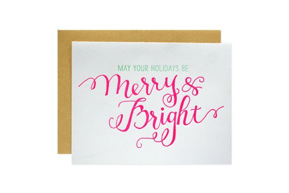 Merry and Bright Letterpress Cards - Set of 6 - Parrott Design Studio
