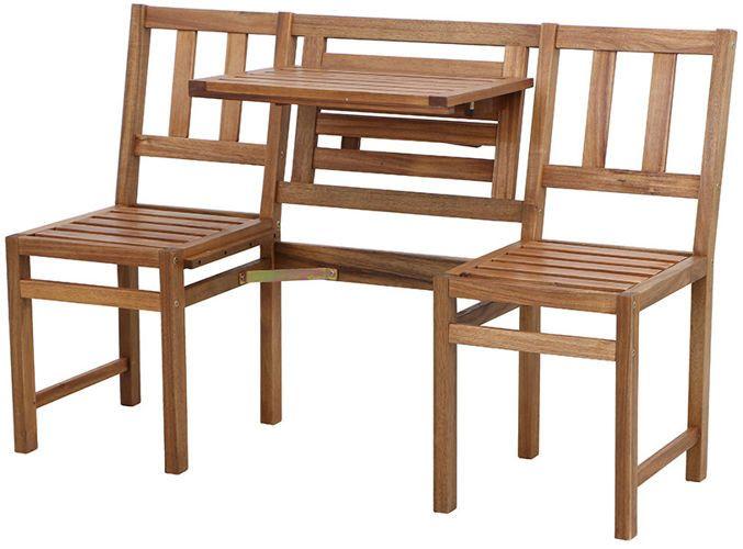 Modułowa ławka wykonana z drewna akacjowego. Funkcjonalne rozwiązanie mebla na balkon lub taras. Do zastosowania jako ławka trzyosobowa lub krzesła ze stolikiem.  http://meblefann.pl/product-pol-118-Lawka-AVIGNON.html