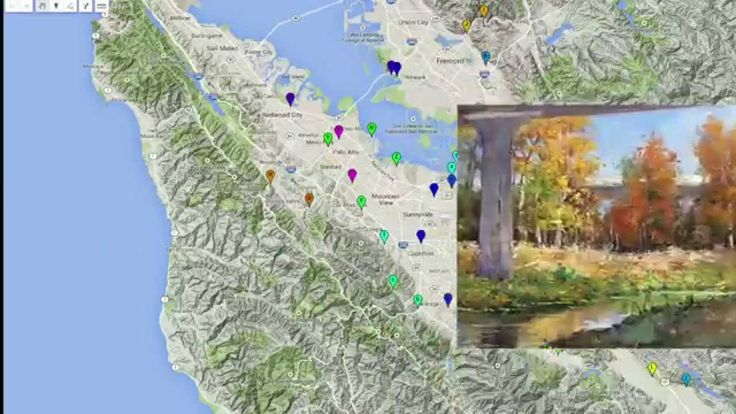 """My year long quest to paint """"The Creeks and Rivers of Silicon Valley"""" is over! 60 paintings of 43 creeks and waterways were produced. Please enjoy and share this short video celebration of the hidden beautiful spaces in our metropolitan areas with art. Just click on the picture below to view the video. More information can be found at: http://www.donaldneff.com/creeks.html"""