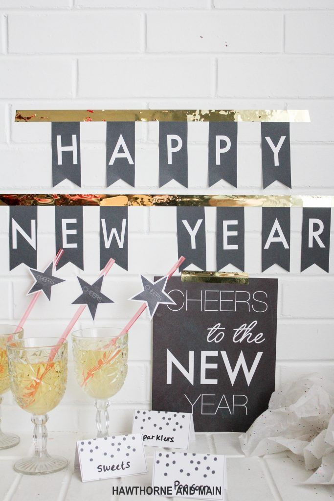 21 Chic Free New Year Printables Party Decor Ideas New Years Eve Decorations New Years Eve Party New Year Printables