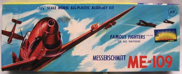 Messerschmitt Me-109. Aurora, 1/48, injection, issue 1955, No.55A-69. Price: 325 USD (vintage).