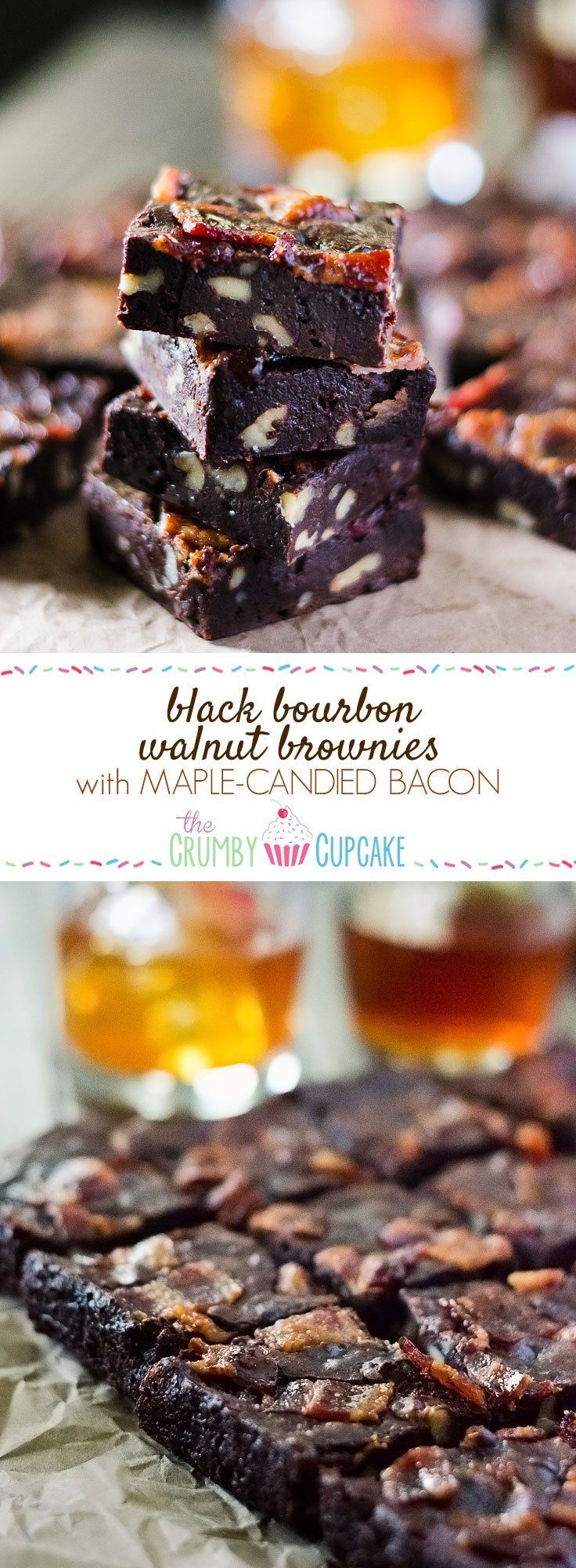 Black Bourbon Walnut Brownies with Maple-Candied Bacon | Dark chocolate, walnuts, and bourbon whiskey come together with maple-candied bacon to create the manliest, most decadent batch of brownies you'll ever eat! They're perfect for the men in your life