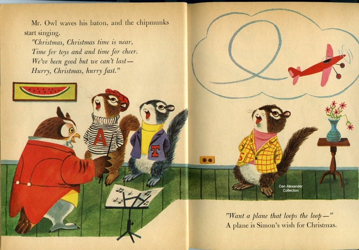"""""""The Chipmunks' Merry Christmas"""" Little Golden Book from 1959 was one of the earliest pieces of Alvin and the Chipmunks memorabilia. This was written by David Corwin and illustrated by Richard Scarry. Alvin and the Chipmunks were the creation of musician Ross Bagdasarian, Sr., and debuted in 1958."""