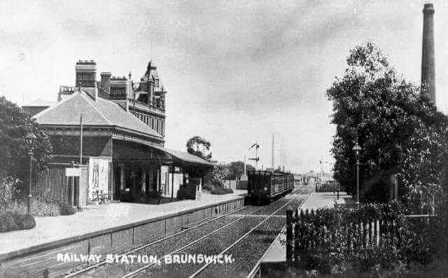 Brunswick Railway Station located on the Upfield line in Victoria.It serves the northern Melbourne suburb of Brunswick and opened on 9 September 1884.      at Brunswick, Victoria (year unknown)