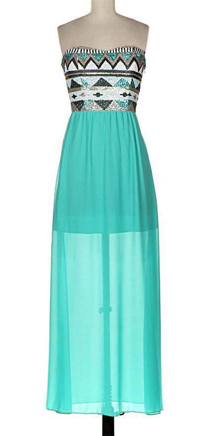 Mint Tribal Strapless Maxi Dress