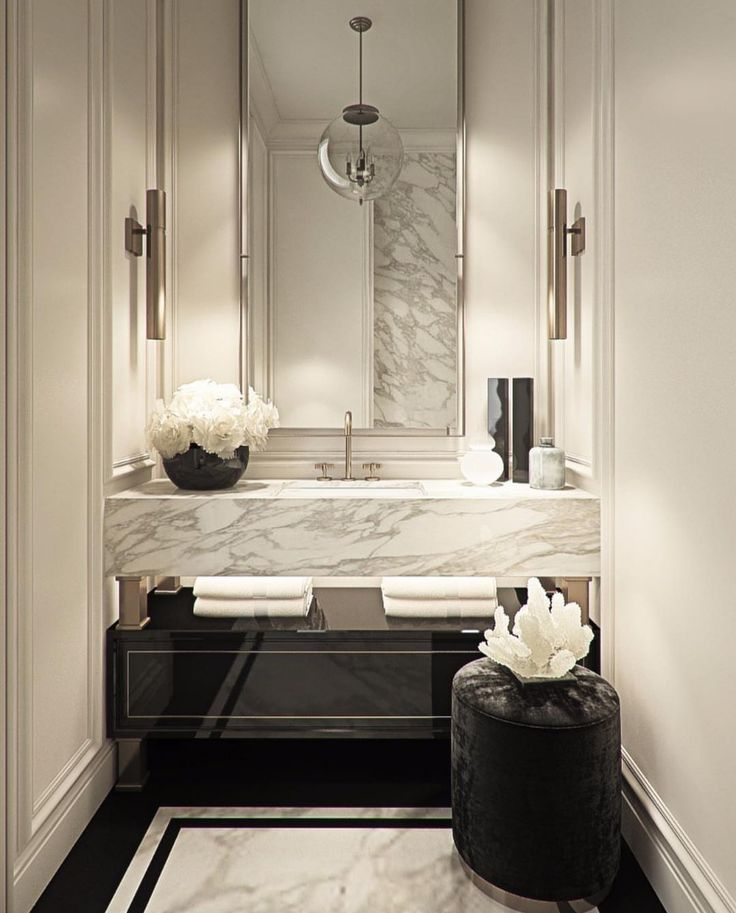 BLACK and WHITE GLAM washroom. Luxe materials: mar…