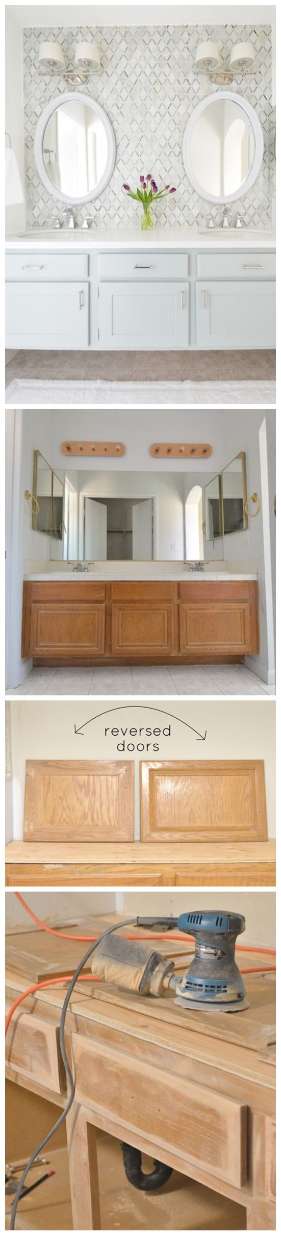 TIP: 1st, we updated the builder grade cabinet into a floating vanity raised to a 33″ height; reversed the doors to take advantage of the Shaker style on the other side; and beveled the drawer fronts edges, removing the curved ogee edge with an orbital sander so they were refinished as curved and smooth. Painted vanity Silver Marlin by Benjamin Moore, it has a green undertone.