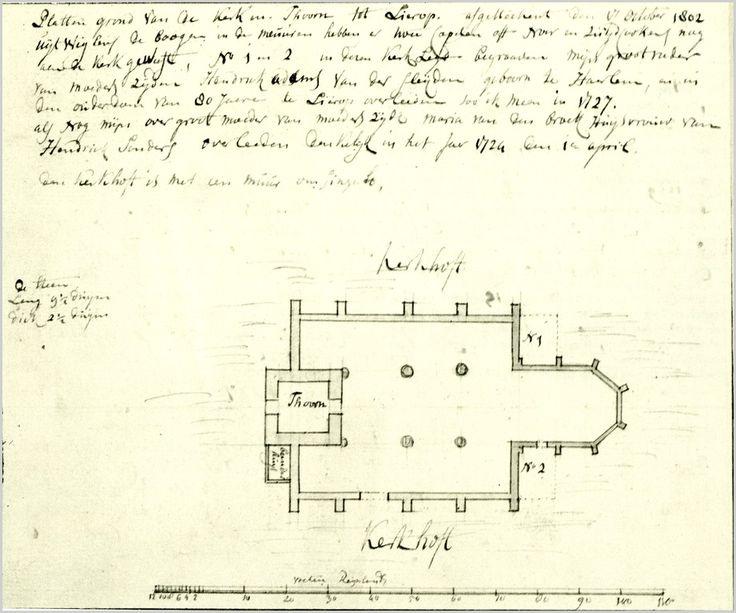 Someren, Lierop - Plattegrond van de RK kerk Verhees, Hendrik (tekenaar) - 1802