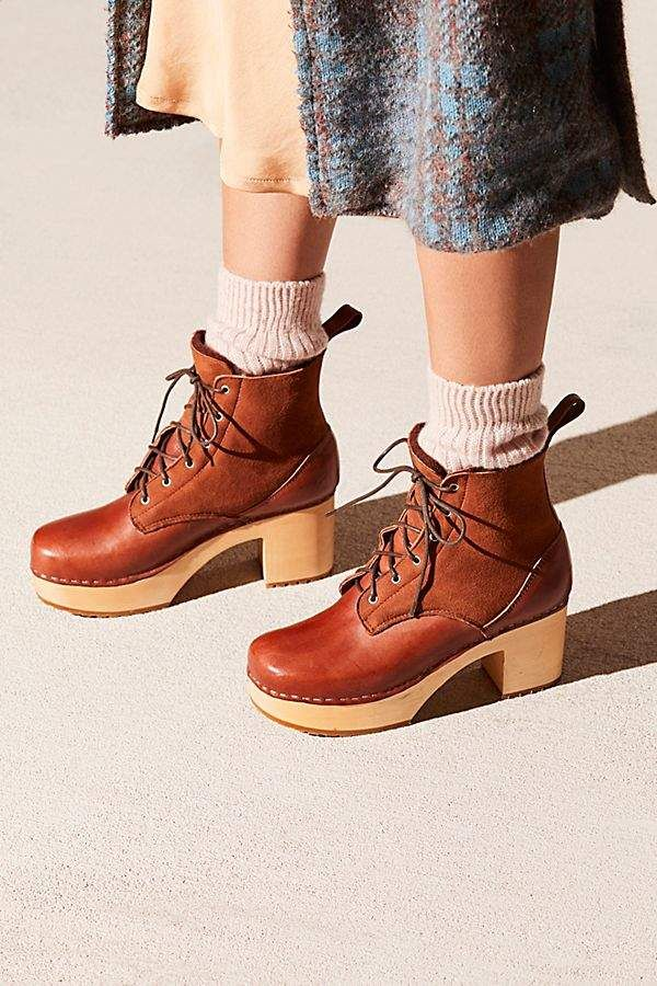 376965856bab Swedish Hasbeens Hippie Lace Up Clog Boot