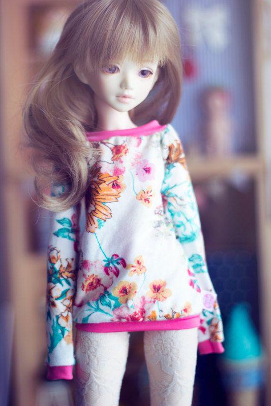 Spring Flowers sweater for MSD size bjd dolls by sugardollshop, $18.00