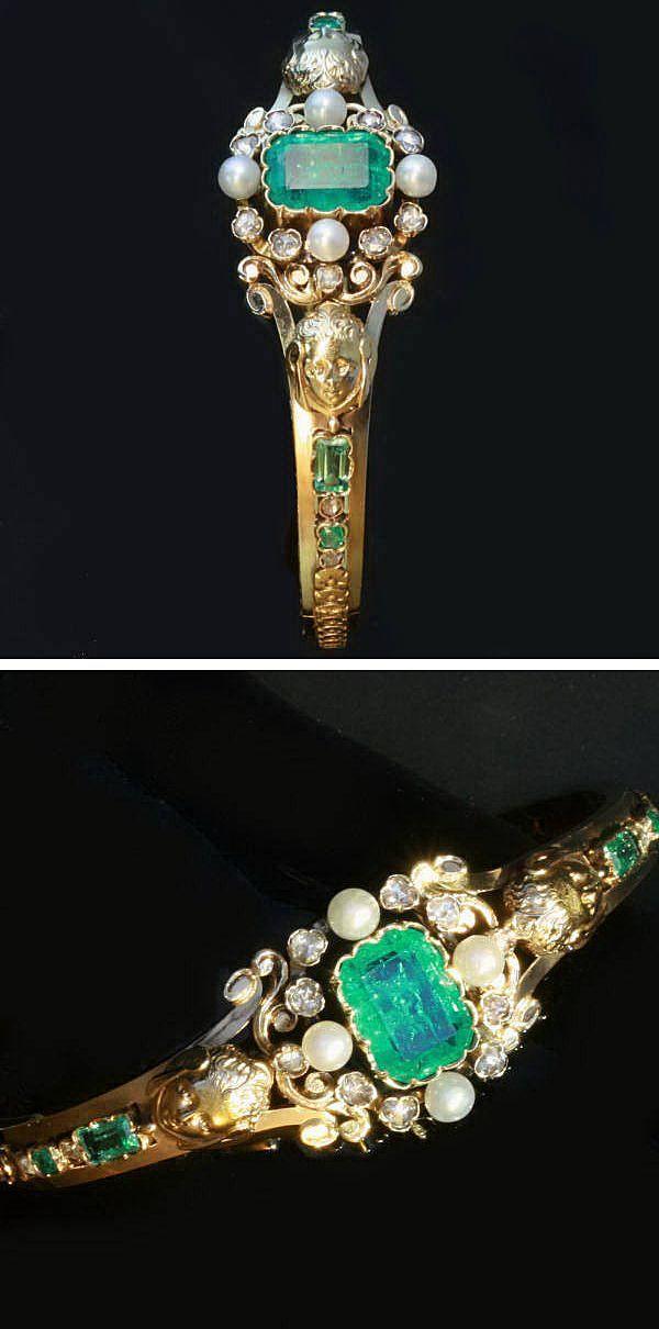 Antique Emerald Diamonds & Pearls Gold Bangle by Bapst & Falize - Circa 1860-1870