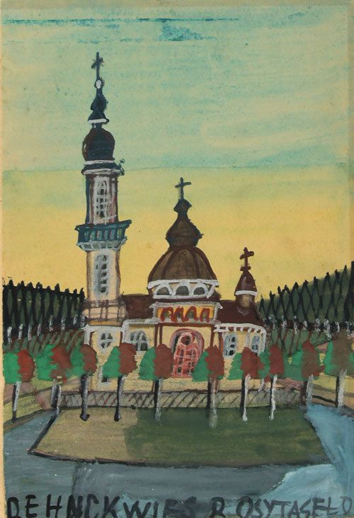 """""""Cerkiew nad jeziorem"""" - Nikifor Krynicki (1895 - 1968)"""