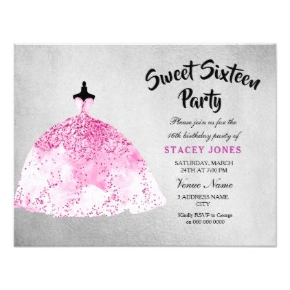 Pink Dress Silver Sweet 16 Party Invitation