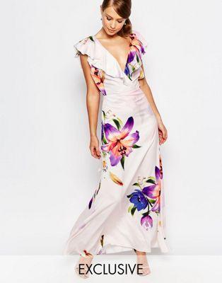 True Violet Ruffle Organza Maxi Dress in Print