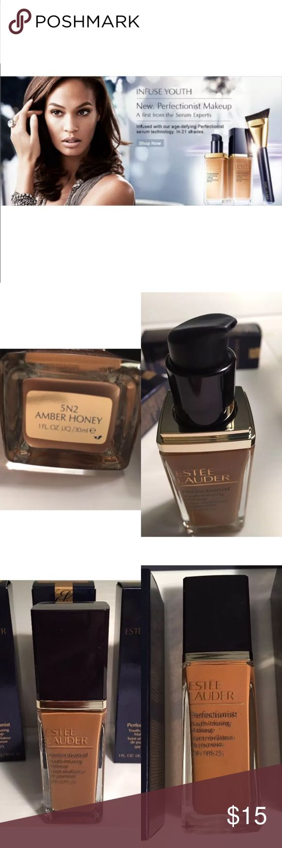 ESTEE LAUDER Perfectionist Makeup Foundation New in box 5N2- Amber Honey Breakthrough makeup infused with age-defying Perfectionist serum technology. Instantly: Brightens and perfects. Re-ignites the look of radiance. Reduces the look of lines. Nourishes with oil-free hydration. Women love it. Instantly, 93% said skin looked transformed, 87% saw a more youthful, radiant look. And in just 4 weeks, 80% saw a reduction in lines and felt their skin was more hydrated.* In a range of long-wearing…