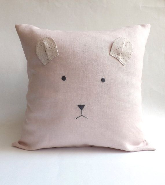 Bear Baby Pillow Cover, Modern Nursery Decor, Baby Room Decor, Gift for Kids, Cushion, Teddy Bear Pillow, Baby Girl Gift, Dusty Pink, Custom